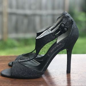 Nina Ladies Strappy Sexy Black Glitter Heels 6.5
